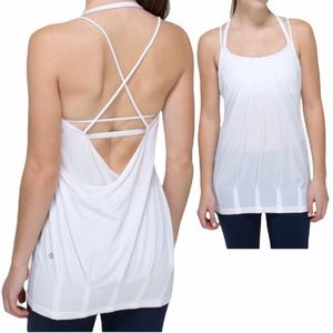 Lululemon White 2-in-1 Flow And Go Tank Top  Sz 2
